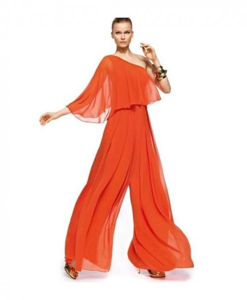 trouw broekpak oranje chiffon